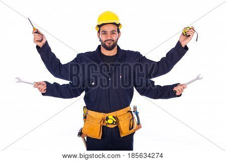 Handsome beard young worker with four arms smiling and holding some equipment guy wearing workwear and yellow helmet with belt equipment isolated on white background