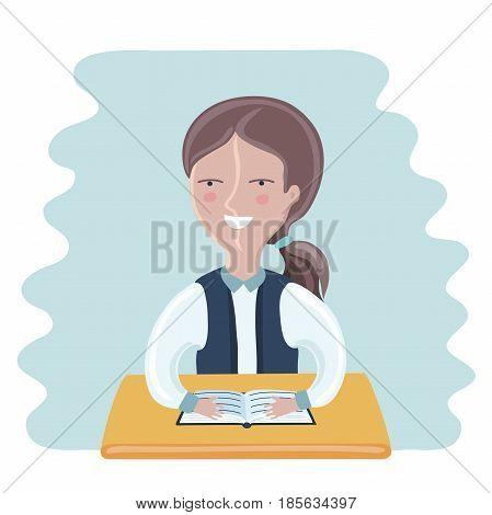 Cartoon funny vector illustration of schoolgirl sitting at the desk