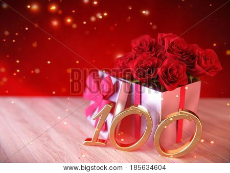 birthday concept with red roses in gift on wooden desk. 3D render - hundredth birthday. 100th