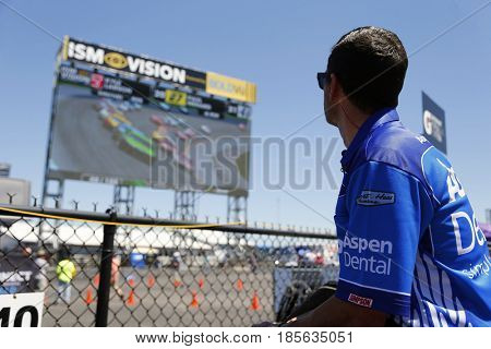 May 07, 2017 - Talladega, Alabama, USA: A crew member for Danica Patrick (10) watches the big screen during the GEICO 500 at Talladega Superspeedway in Talladega, Alabama.