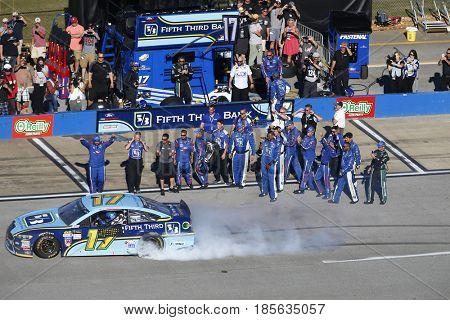 May 07, 2017 - Talladega, Alabama, USA: Ricky Stenhouse Jr. (17) takes the checkered flag and wins the GEICO 500 at Talladega Superspeedway in Talladega, Alabama.