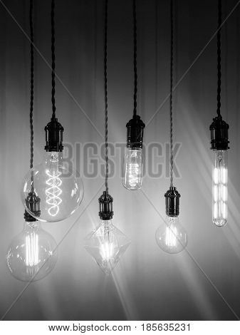 Industrial style light bulbs of different shapes. Black and white photo.