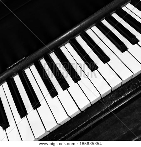 Black and white piano keys. Classical musical instrument.