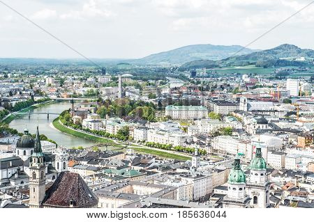 Panoramic view of Salzburg with Salzach river and Mirabell Garden from Festung Hohensalzburg