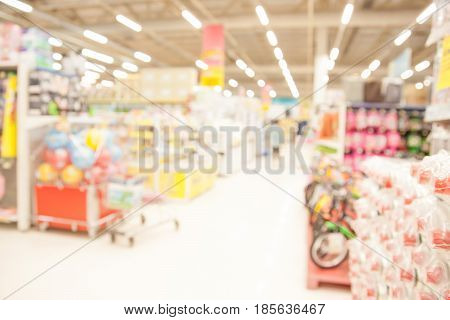 Shopping mall blurred with bokeh background. business concept.