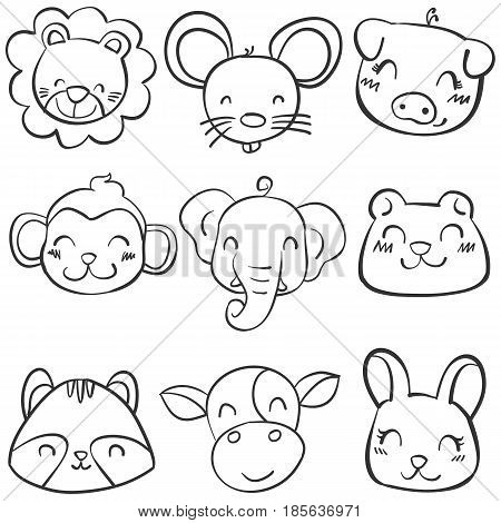 Collection stock of animal head hand draw vector illustration