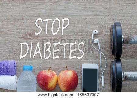 Concept STOP DIABETES and against healthy. Apple