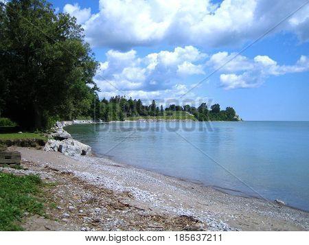 Stoney beach on Lake Ontario shore near Colborne Ontario