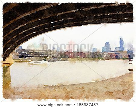 Digital watercolor painting of the view from under Blackfriars Bridge in London showing tall buildings including St Pauls Cathedral on a cloudy day. Space for text.