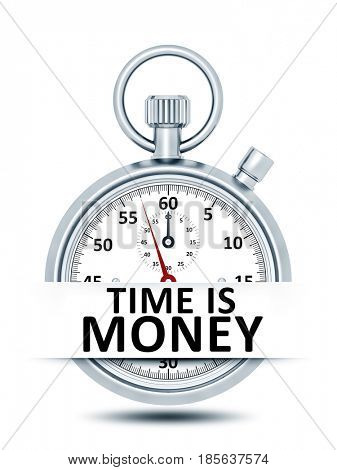 3D illustration of a stopwatch with text time is money