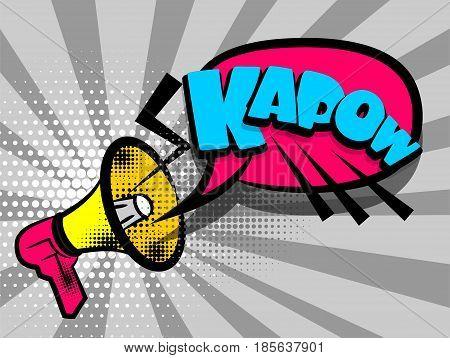 Lettering KAPOW, megaphone, bullhorn. Comics book text balloon. Bubble icon speech phrase. Cartoon font label tag expression. Sounds vector halftone sunbeam radial illustration background.