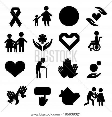 Volunteer silhouette icons charity donation vector set humanitarian awareness hand hope aid support and assistance care service human symbols. Trust social rescue helping ribbon.