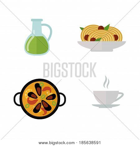 European tasty food and cuisine dinner food showing delicious elements flat vector illustration. Rustic traditional snack cooking plate. Tasty lunch meat and other fresh dish