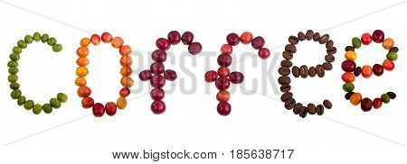 The word of coffee made of green yellow red and roasted coffee beans and isolated on a white background