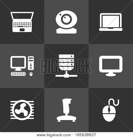 Set Of 9 Computer Icons Set.Collection Of Laptop, Joystick, Notebook And Other Elements.