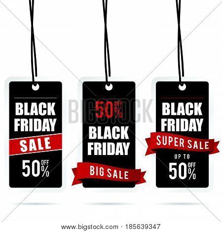 Black Friday Big Sale Tag Set In Color Illustration