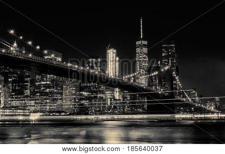 Bw Photo Brooklyn Bridge And Manhattan Skyline Night, New York City