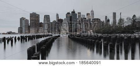 Bw Photo New York City Manhattan Buildings Skyline Evening Taken