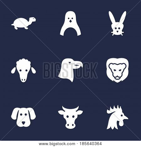 Set Of 9 Brute Icons Set.Collection Of Hound, Wildcat, Rooster And Other Elements.