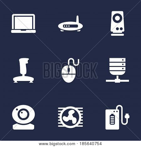 Set Of 9 Computer Icons Set.Collection Of Control Device, Amplifier, Laptop And Other Elements.