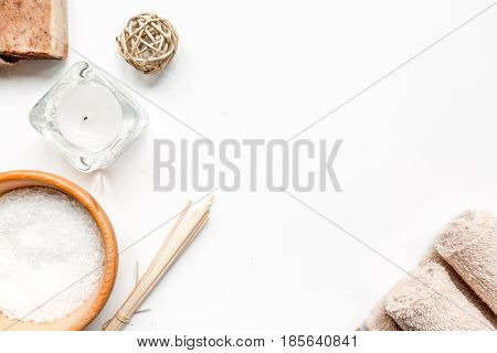 bathroom salt and natural soap for spa set on white background top view mock-up