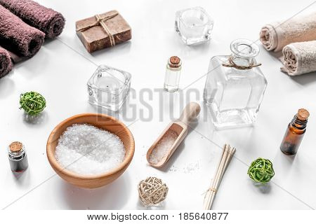 bathroom salt and aroma oil for spa set on white background