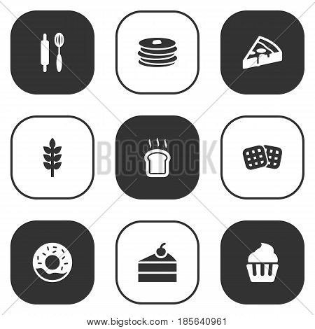 Set Of 9  Icons Set.Collection Of Whisk, Grain, Sweetmeat And Other Elements.