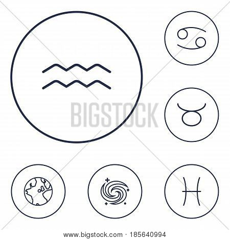 Set Of 6 Astrology Outline Icons Set.Collection Of Cancer, Taurus, Pisces And Other Elements.