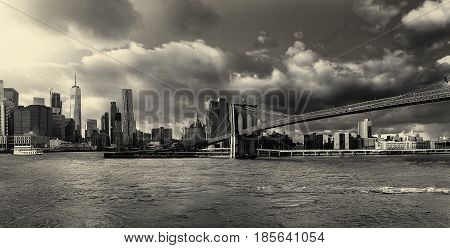 Bw Photo The Brooklyn Bridge And Manhattan Skyline From , New York.