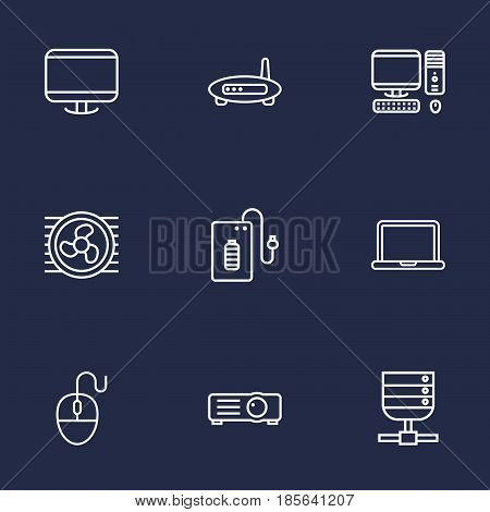 Set Of 9 Notebook Outline Icons Set.Collection Of PC, Cooler, Projector And Other Elements.