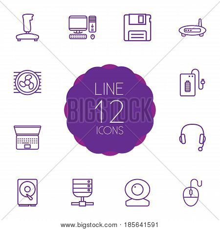 Set Of 12 Notebook Outline Icons Set.Collection Of PC, Server, Web Cam And Other Elements.
