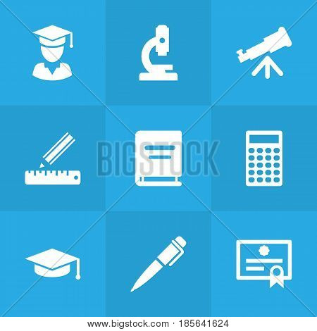 Set Of 9 Education Icons Set.Collection Of Academic Hat, Certificate, Pencil And Other Elements.