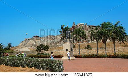 Cartagena de Indias, Bolivar / Colombia - April 10 2016: Monument to Blas de Lezo next to the Castillo San Felipe de Barajas. Spanish admiral famous for commanding the defense of Cartagena in 1741