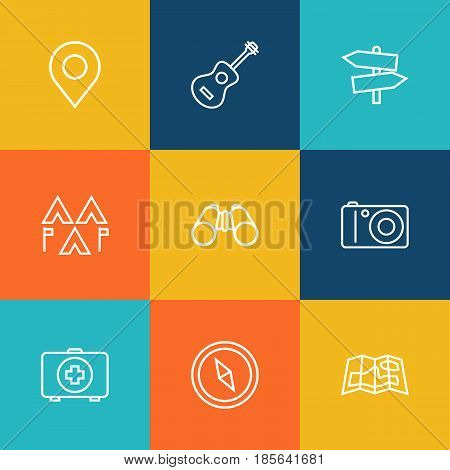 Set Of 9 Outdoor Outline Icons Set.Collection Of Encampment, Compass, Place Pointer And Other Elements.