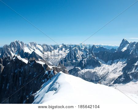View from the top of Aiguille du Midi in the french Alps, Chamonix, France