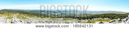 Panorama of Mont Lozere from Pic Cassini with stone rocks and forests Cevennes France