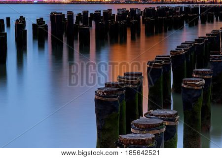 Hudson River Flowing Through Upstate New York Skyline Evening
