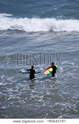 APRIL 23, 2017. SANTA CRUZ, CA. CIRCA:  Surfers enjoying the water and waves in Santa Cruz, Ca.