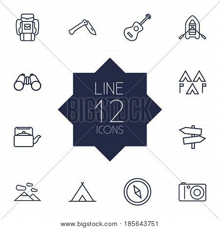Set Of 12 Picnic Outline Icons Set.Collection Of Mountains, Teapot, Guidepost And Other Elements.