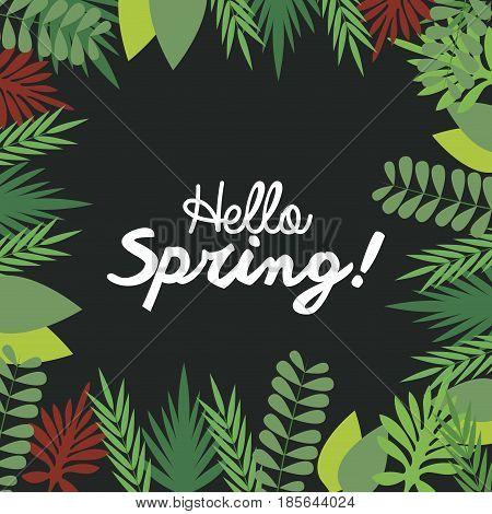 hello spring letter decorating, leaf natural dark background season vector illustration