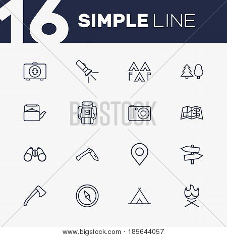Set Of 16 Picnic Outline Icons Set.Collection Of Place Pointer, Teapot, Guidepost And Other Elements.
