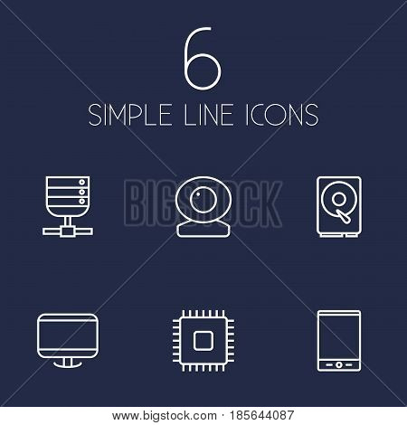 Set Of 6 Laptop Outline Icons Set.Collection Of Web Cam, Cpu, Tablet And Other Elements.