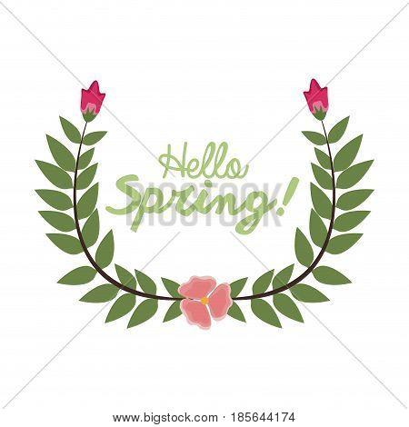 hello spring letter decorating, wreath leaf and flower, season vector illustration