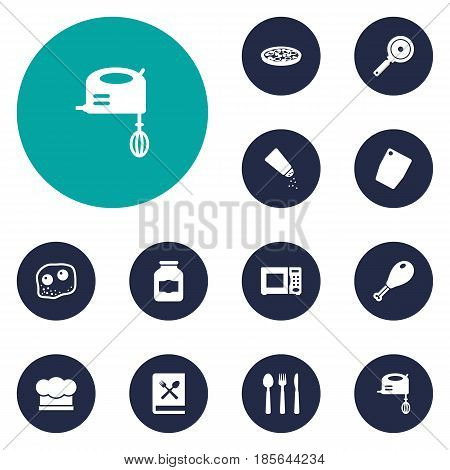 Set Of 12 Kitchen Icons Set.Collection Of Non-Stick, Cutting Surface, Chef Cap And Other Elements.