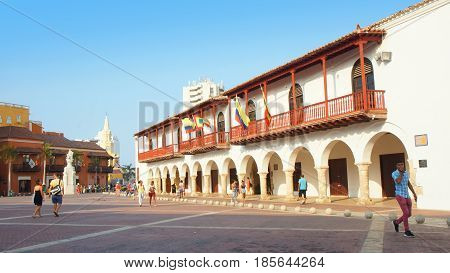 Cartagena de Indias, Bolivar / Colombia - April 10 2016: Activity in Plaza de la Aduana in historic center of Cartagena. Cartagena's colonial walled city was designated a UNESCO World Heritage Site