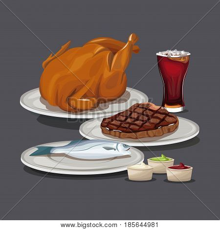 chicken steak fish glass soda ketchup mustard sauce vector illustration