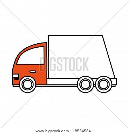 color silhouette cartoon transport truck with wagon and wheels vector illustration