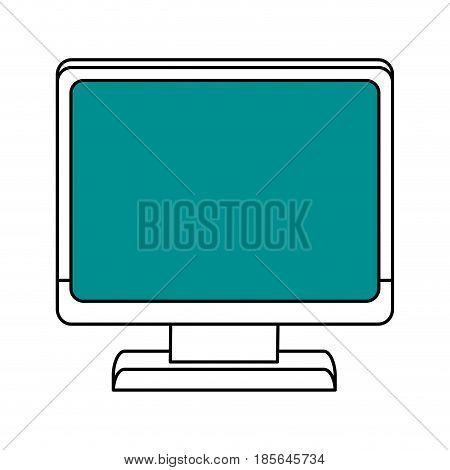color silhouette cartoon front view computer with blue display vector illustration