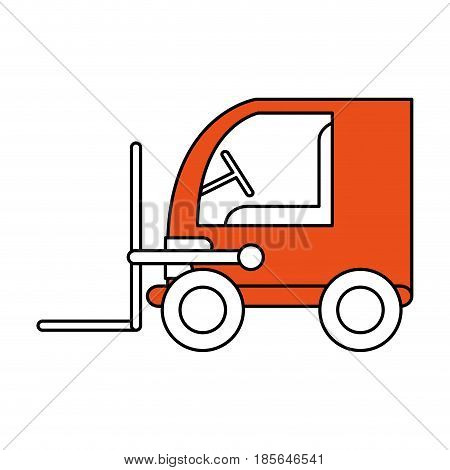 color contour cartoon orange forklift truck with forks transportin package vector illustration
