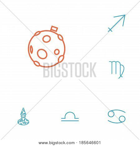 Set Of 6 Astrology Outline Icons Set.Collection Of Moon, Cancer, Libra And Other Elements.